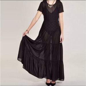 nwt for love & lemons black sombrero maxi dress